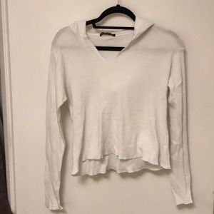 Brandy Melville cropped white sweater with hood